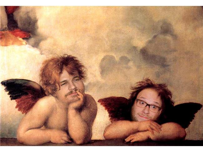James Franco e Seth Rogers in versione cherubini della Cappella Sistina