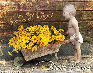 Un bambino con una carriola piena di fiori - Immagini divertenti per auguri di Buona Pasqua