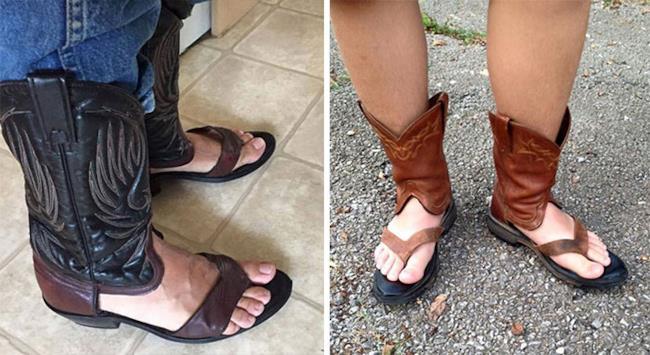 Degli stivali da Cowboy a sandalo