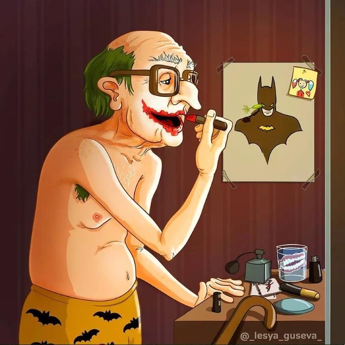 Joker da vecchio che si trucca
