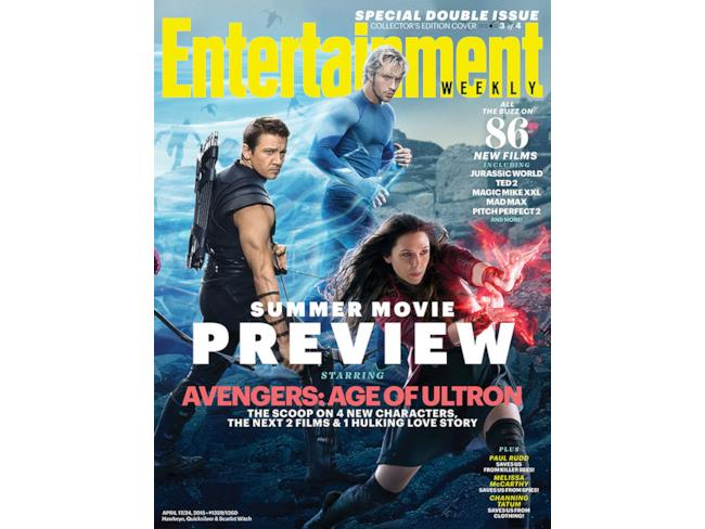 Entertainment Weekly con Hawkeye, Scarlet Witch e Quicksilver