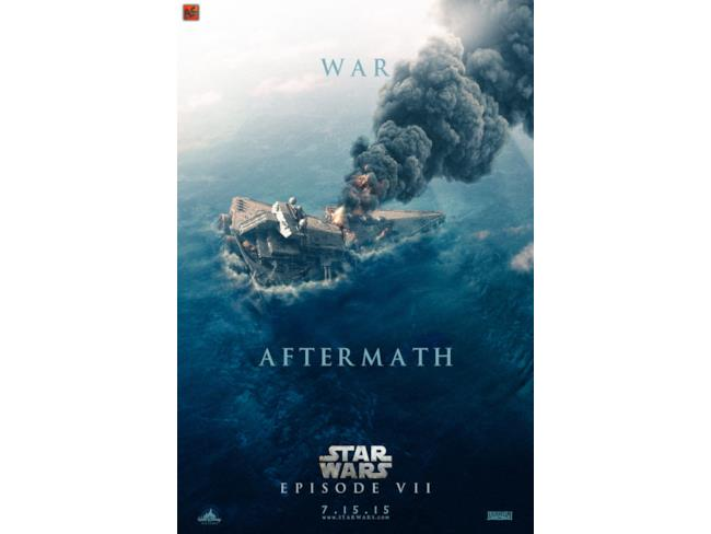 poster di Star Wars 7 di una nave spaziale affondata