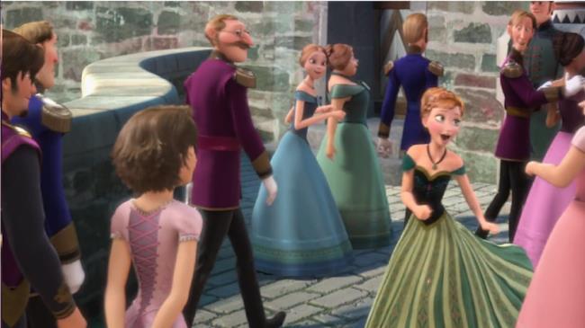 Eugene e Rapunzel chiaramente visibili in una scena del film Frozen.