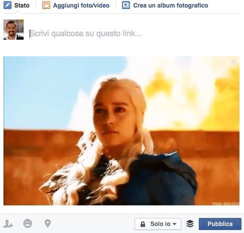 Caricamento di una GIF su Facebook