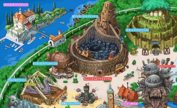 Particolare della mappa di Ghibli Land