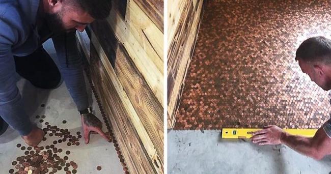 Il giovane barbiere mostra come ha ricoperto il pavimento del locale, usando 70mila penny.