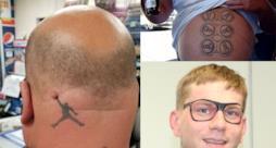 Un collage con tre pessimi tatuaggi