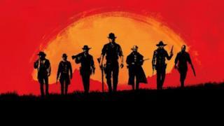 Sette uomini comminano nel vecchio west