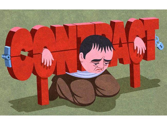 Illustrazione satirica di John Holcroft sui contratti