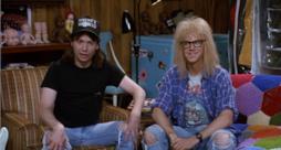 Wayne e Garth sorridono in un'immagine di Fusi di testa
