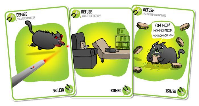Alcune delle carte del gioco Exploding Kittens