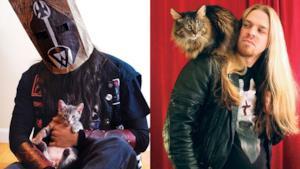 Uomini metallari in un momento di tenerezza con il proprio gatto