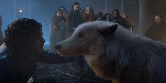 Jon Snow con il metalupo Ghost