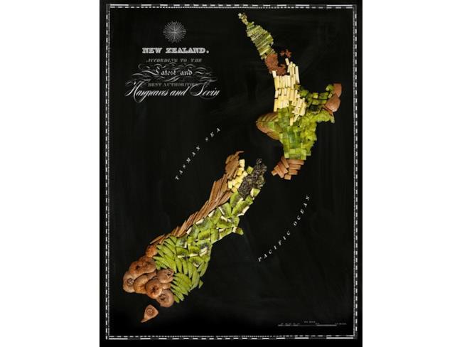 Cartina della Nuova Zelanda fatta con il cibo