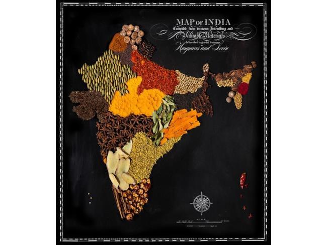 Cartina dell'India fatta con il cibo