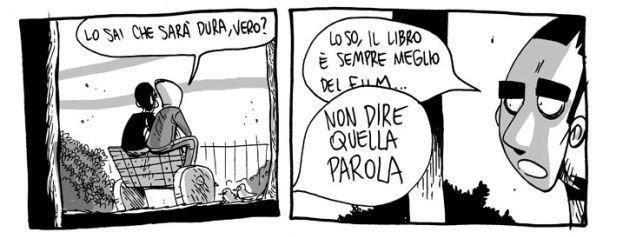 Una vignetta in cui l'artista ZeroCalcare annuncia l'uscita al cinema de La Profezia dell'Armadillo