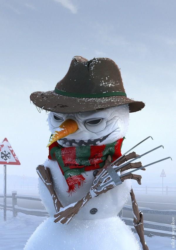 Freddy Krueger in versione pupazzo di neve