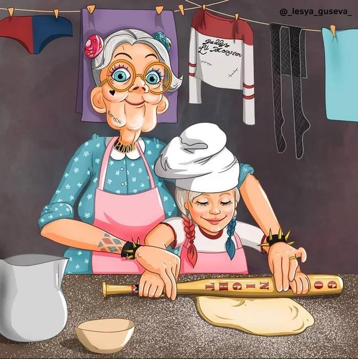 Harley Quinn che cucina una torta