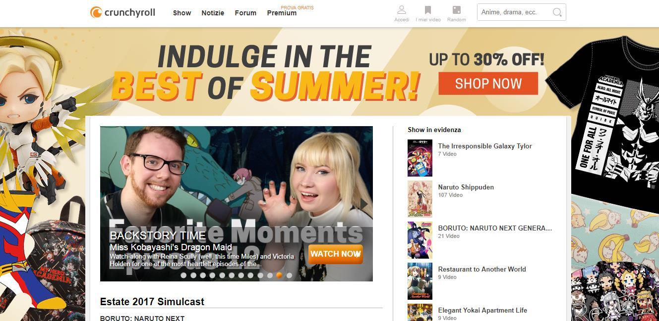 L'homepage del sito