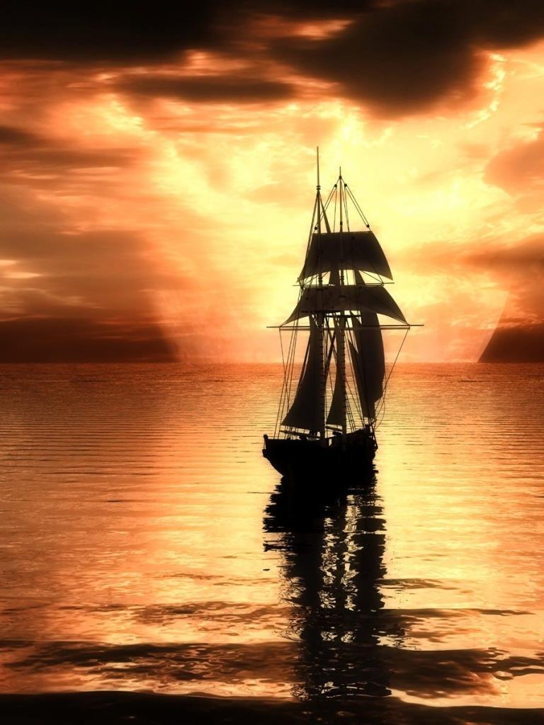 Una barca a vela al tramonto - Sfondi per PC, iPhone, Android e profilo WhatsApp da scaricare