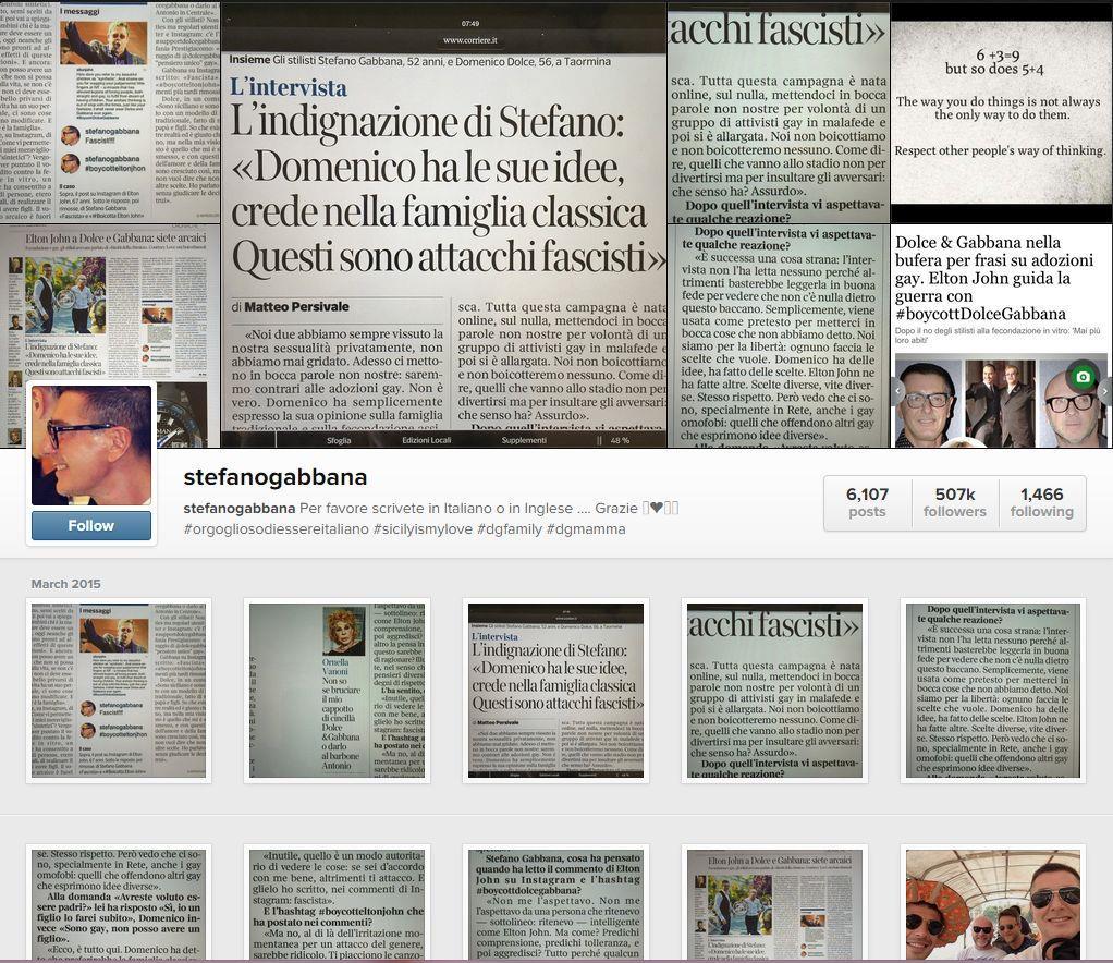 Il profilo Instagram di gente che dà ragione a Stefano Gabbana
