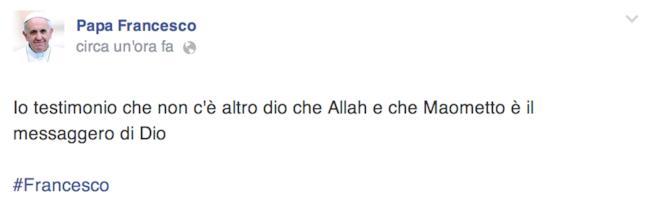 Post su pagina hackerata di Papa Francesco su Facebook