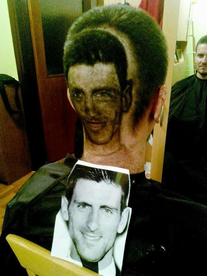 Anche il campione di tennis Novak Djokovic fra le creazioni del barbiere serbo