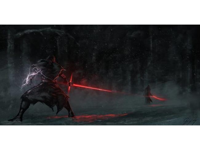 Poster di un fan di Star Wars 7 con duello fra Sith
