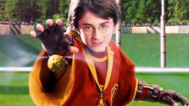 Harry Potter vola verso il Boccino d'Oro