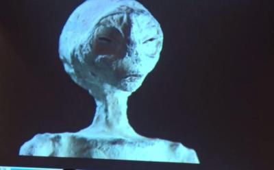 La testa di uno dei presunti alieni