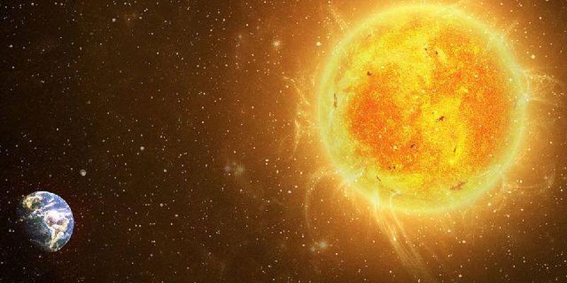 Il Sole e la Terra nello spazio