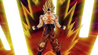 Goku urla lanciando una sfera d'energia