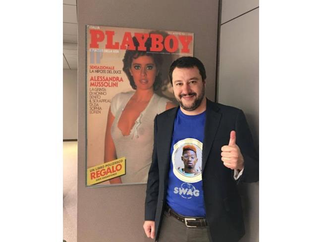 Meme di Salvini con la copertina di Playboy