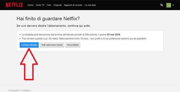 Una schermata con la fase finale della disdetta dell'abbonamento a Netflix - Come disdire Netflix, la guida completa