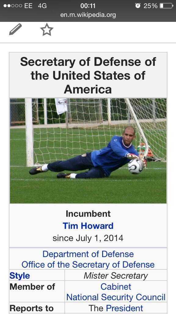 Tim Howard su wikipedia come segretario della difesa