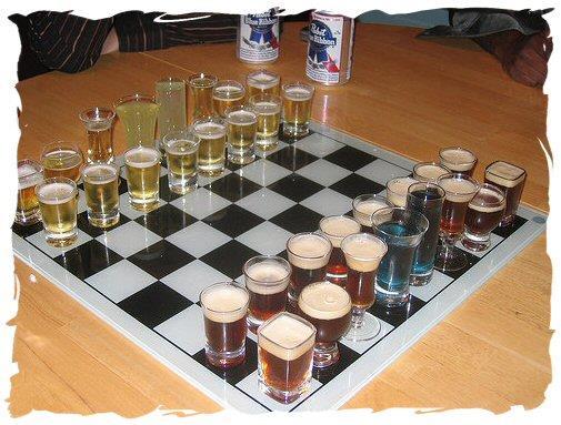 Una scacchiera utilizzata per giocare alla versione alcolica degli scacchi