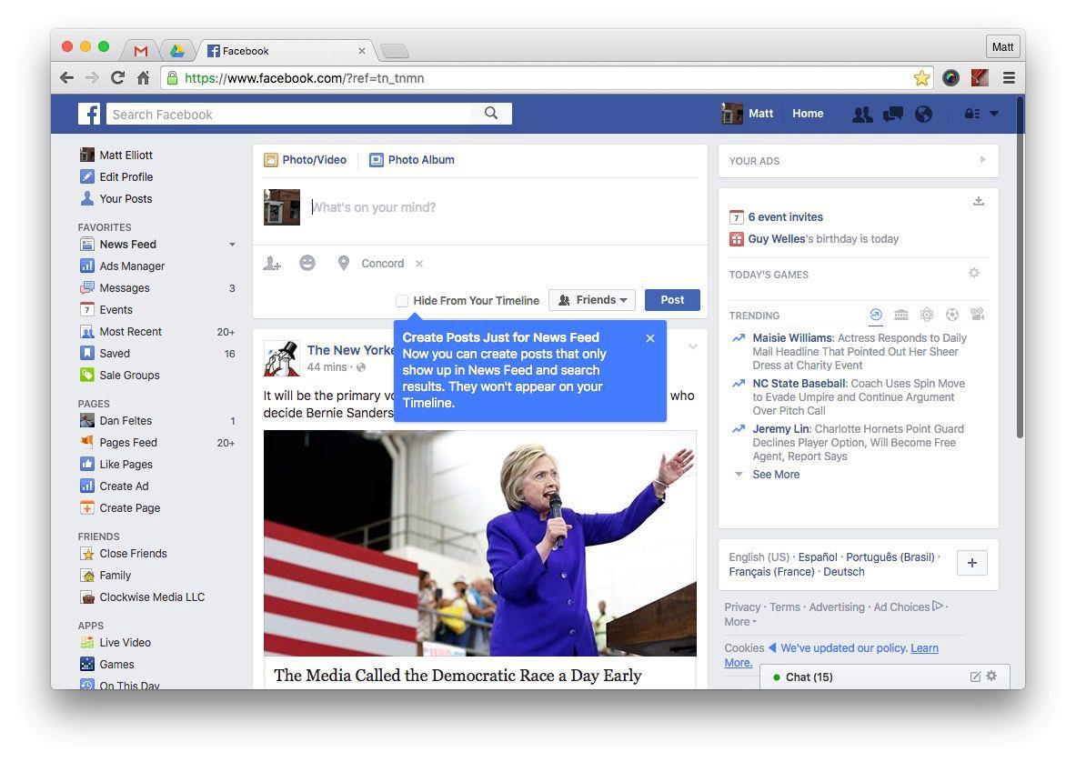 Uno screen della bacheca di Facebook