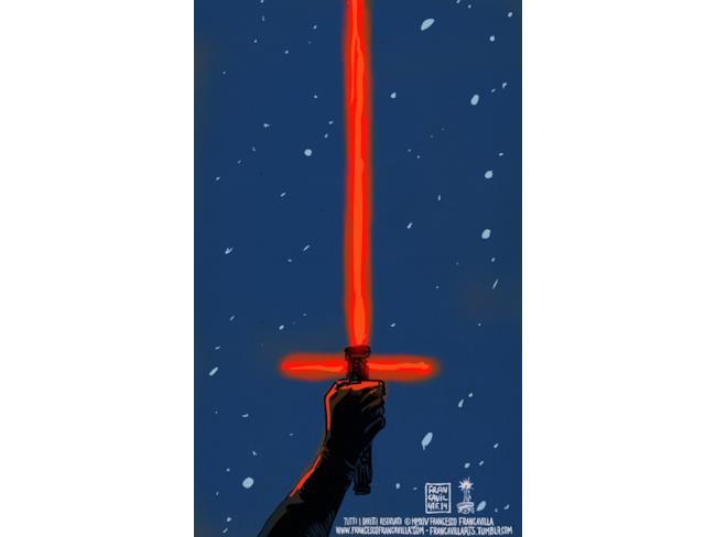 poster della lightsaber rossa in Star Wars 7
