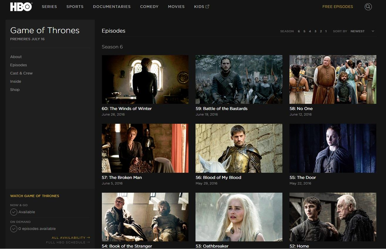 Game of Thrones in streaming - la home page di HBO