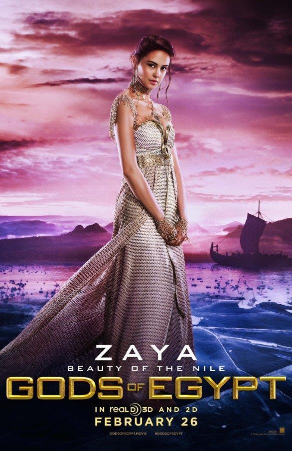 Zaya nel character poster di Gods of Egypt