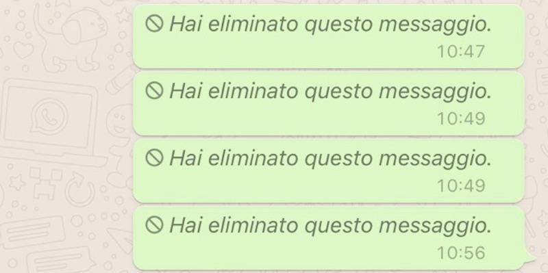 La schermata di WhatsApp con una serie di messaggi cancellati