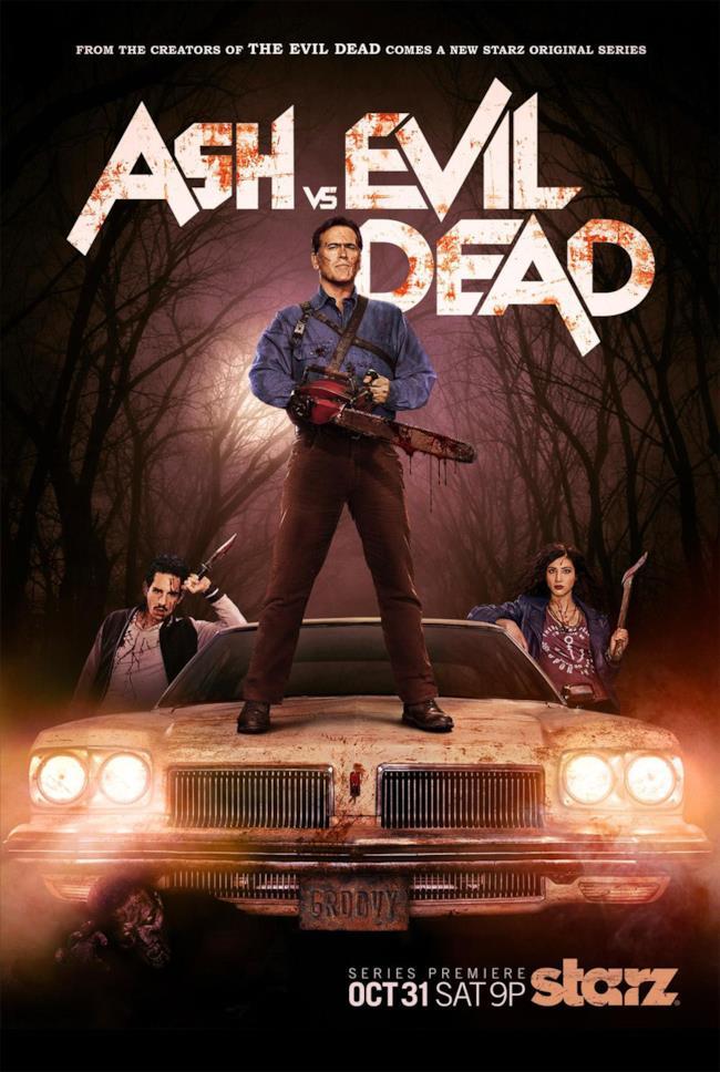Il poster di Ash vs Evil Dead con i sidekick Pablo e Kelly