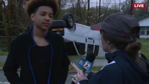 Anton Williams, durante l'intervista dopo il tornado
