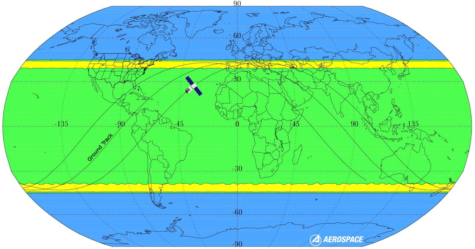 Una mappa con le possibili zone di rientro nell'atmosfera di Tiangong-1