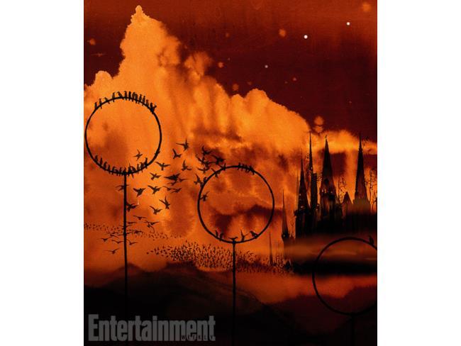 Illustrazione di Hogwarts al tramonto di Jim Kay