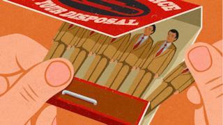 Illustrazione satirica di John Holcroft sui lavoratori