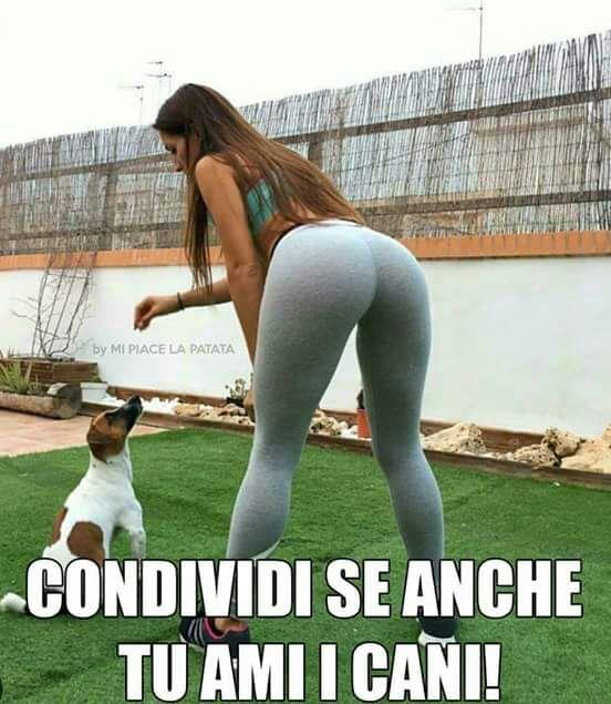 Immagini divertenti per WhatsApp - una ragazza di spalle con un  cane