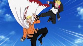 Naruto e suo figlio Boruto si allenano