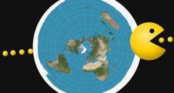 Un'immagine che ritrae Pac-Man sbucare da un lato all'altro della Terra