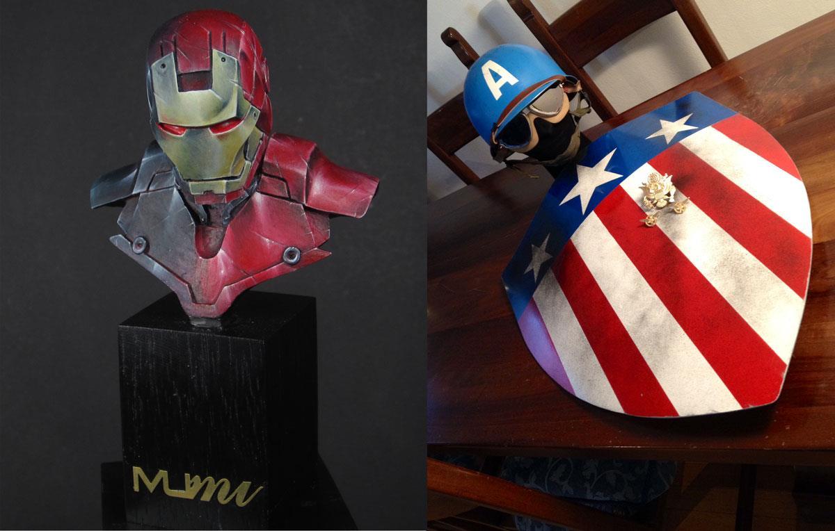 Il busto di Iron Man e lo Scudo con Elmetto WWII di Capitan America